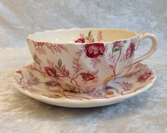 Oversized ROSEBUD CHINTZ Cup and Saucer Set Spode China