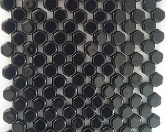 Honeycomb, Jet, Hex 2-Hole Beads Czech Glass 6mm, 23980-30 beads