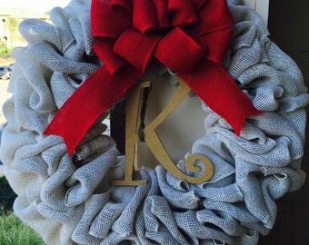 White Christmas Burlap Wreath