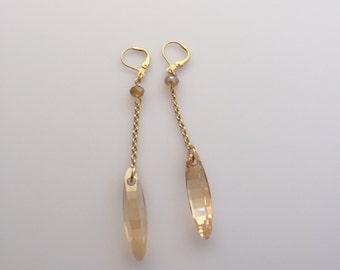 """2 1/2"""" Golden Shadow Drop Earrings"""