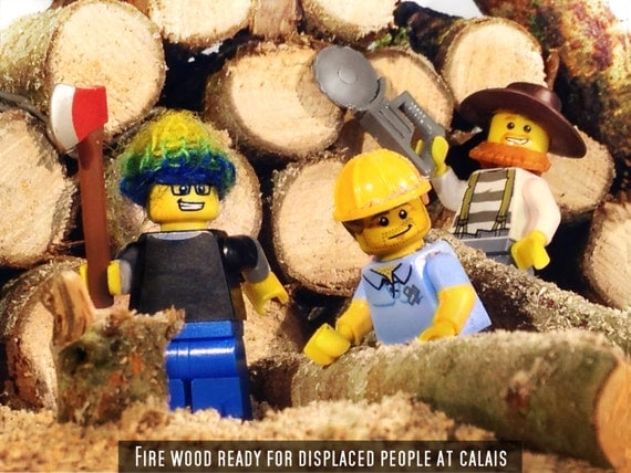 Lego minifigures Fire Wood Ready For Displaced People At Calais PW30