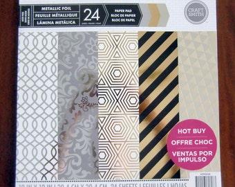Craft Smith METALLIC FOIL Paper Pad 24 Printed Sheets 12 x 12 Scrapbook NEW