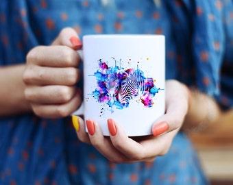 Zebra Mug - Affordable Art Mug - Coffee Mug - Watercolor Mug - Colorful Tea Mug - Blue