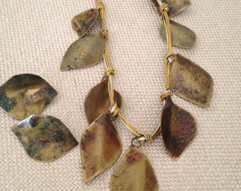 80's Martha Sturdy Necklace, Abstract Hammered Brass Leaf Necklace Set, Designer Statement Choker with Earrings -Rare!