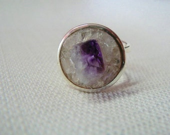 Amethyst and Clear Quartz Silver Orbit Ring - RG 241
