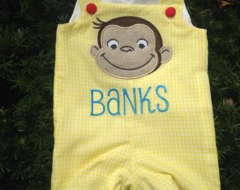 curious George monkey shortall birthday jon jon, romper, jumpsuit, longall