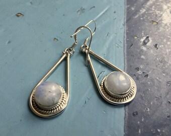 Indian Silver 925 Earrings Moonstone Gemstone