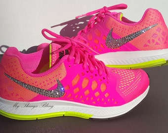 Woman's Nike Air Pegasus 31 Running Shoes W/Swarovski Crystals - Volt/Hypr Pink