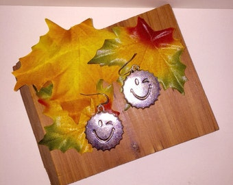 Smiley Face Bottle Cap Earrings