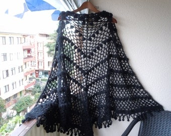 CROCHET Shawl /Oversized Black Women Shawl , Bridal Shawl , Crochet Wrap Shawl,cozy shawl, wrap stole, wedding shawl