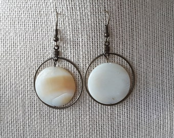 Shell Disc Hoop Dangles . Earrings
