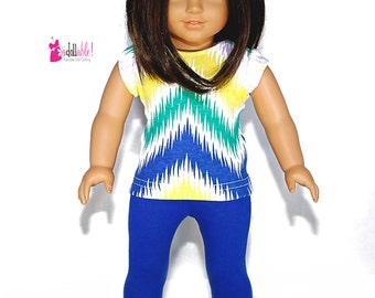 American made Girl Doll Clothing, 18 inch Doll Clothing, Chevron Knit Top, Cobalt Blue Capris made to fit like American girl doll clothes