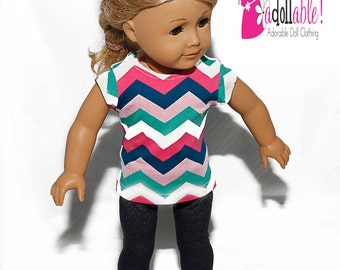 American made Girl Doll Clothes, 18 inch Girl Doll Clothing, Chevron Top, Stretch Denim Leggings made to fit like American girl doll clothes