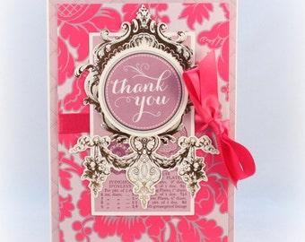 Thank You Card Luxury Elegant Handmade Thank You Card Pink Thank You Card, Damask Thank You Card, Fancy  Thank You Card, Wedding Thank You