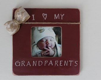 grandparents picture frame i love my grandparents frame burgundy photo frame rustic picture frame