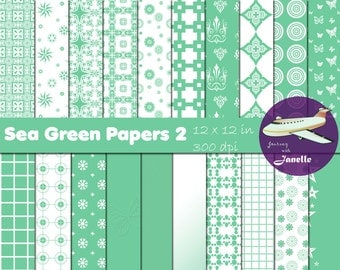 Sea Green Digital Papers 2 for Scrapbooking, Card Making, Paper Crafts and Invitations