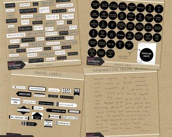 World Traveler Word Art Kit- Digital Scrapbooking Kit, digital elements, travel, INSTANT DOWNLOAD, commercial use