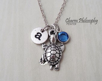 Turtle Necklace - Crawling Turtle Charm - Antique Silver Jewelry - Monogram Personalized Initial and Birthstone