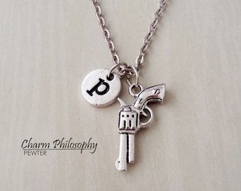 Gun Necklace - Personalized Monogram Initial Necklace - Revolver Necklace - Weapons Jewelry
