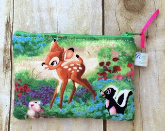 Disney Bambi inspired padded coin purse/ coin pouch/ small zipper pouch