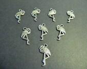 Florida Flamingo Tibetan Silver Charms - Cardmaking - Scrapbook -  Jewelry Supply - 24mm x 12mm- Crafting - Florida Flamingo - Shoe Charms