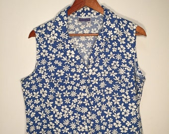 90s Floral Sleevless Button down top // Free Shipping