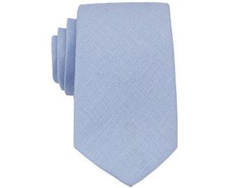 Tyrol Blue Linen Ties. Mens Tie.Tea Linen Skinny Tie.Wedding Necktie