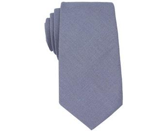 Steel Grey Linen Ties.Mens Tie.Gray Skinny Tie.