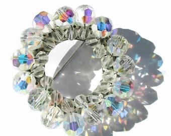 Vintage Brooch AB Circle Pin Sparkling Delight  Aurora Borealis  G3