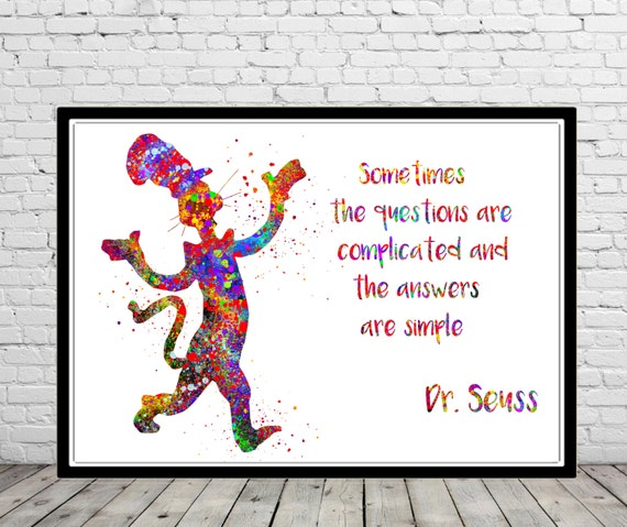 Dr Seuss Dr Seuss Quote Cat In The Hat Watercolor Cat In