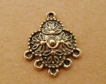 20pcs Eco-friendly Antique Gold Earring Findings Ornate Chandeliers 21x19mm (29)