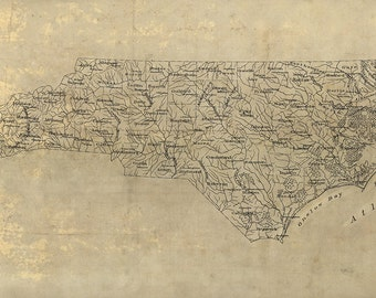 Map of North Carolina NC, 1893.  Restoration Hardware Home Deco Style Old Wall Map. Vintage Reproduction