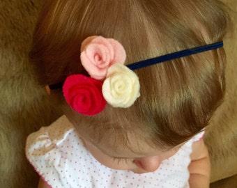 Felt Flower Headband, Bright pink, baby pink, ivory, baby headband, felt flowers, navy blue headband