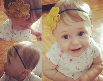 Yellow headband, yellow flower, baby yellow headband , flower headband, baby headband