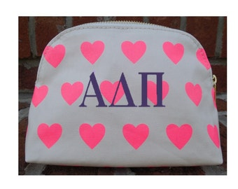 Monogrammed Heart Print Cosmetic Bag, Personalized Embroidery