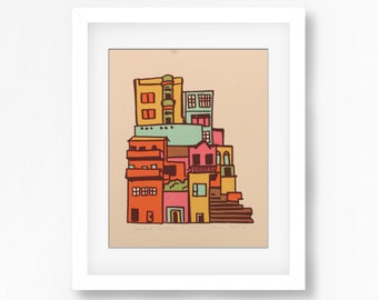 Stacked Houses Cityscape Screen Print