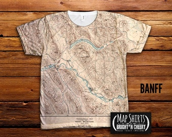 1902 Vintage Banff National Park T Shirt, All Over Print, Rocky Mountains, lake louise tshirt, hiking shirt, antique topographic chart
