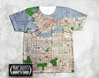 Walt disney world magic kingdom vintage map t shirt family for Vancouver t shirt printing