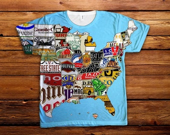 USA Beer Map T Shirt All Over Print- Oktoberfest, craft beer, American Apparel Tee