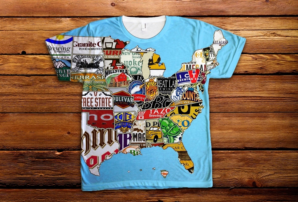 Usa beer map t shirt all over print oktoberfest craft beer for T shirt printing usa