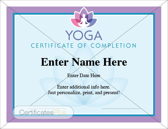 Yoga certificate certificate of completion participation for Yoga gift certificate template free