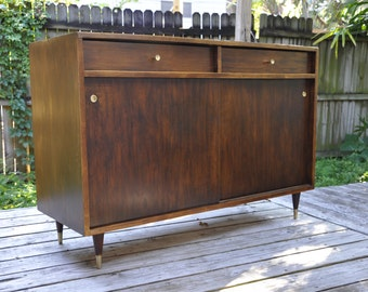 SOLD - Bar cabinet with brass hardware