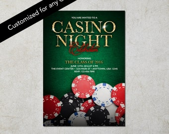 Casino Night Invitation-Green: Digital File