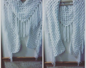 White Crochet Scarf, Winter Scarf, Crochet Scarf, Women's Scarf, Crochet Winter Scarf, Stylish Scarf, Lacy Scarf, Gift for Her, Teen Scarf