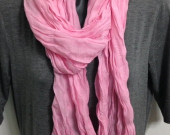 Long Crinkle Cotton Light Pink Women's Scarf Shawl