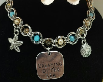 Beach jewelry - handmade beach bracelet - dreaming of the sea chainmaille charm bracelet