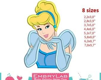 Applique Princess Cinderella. Machine Embroidery Applique Design. Instant Digital Download (16223)