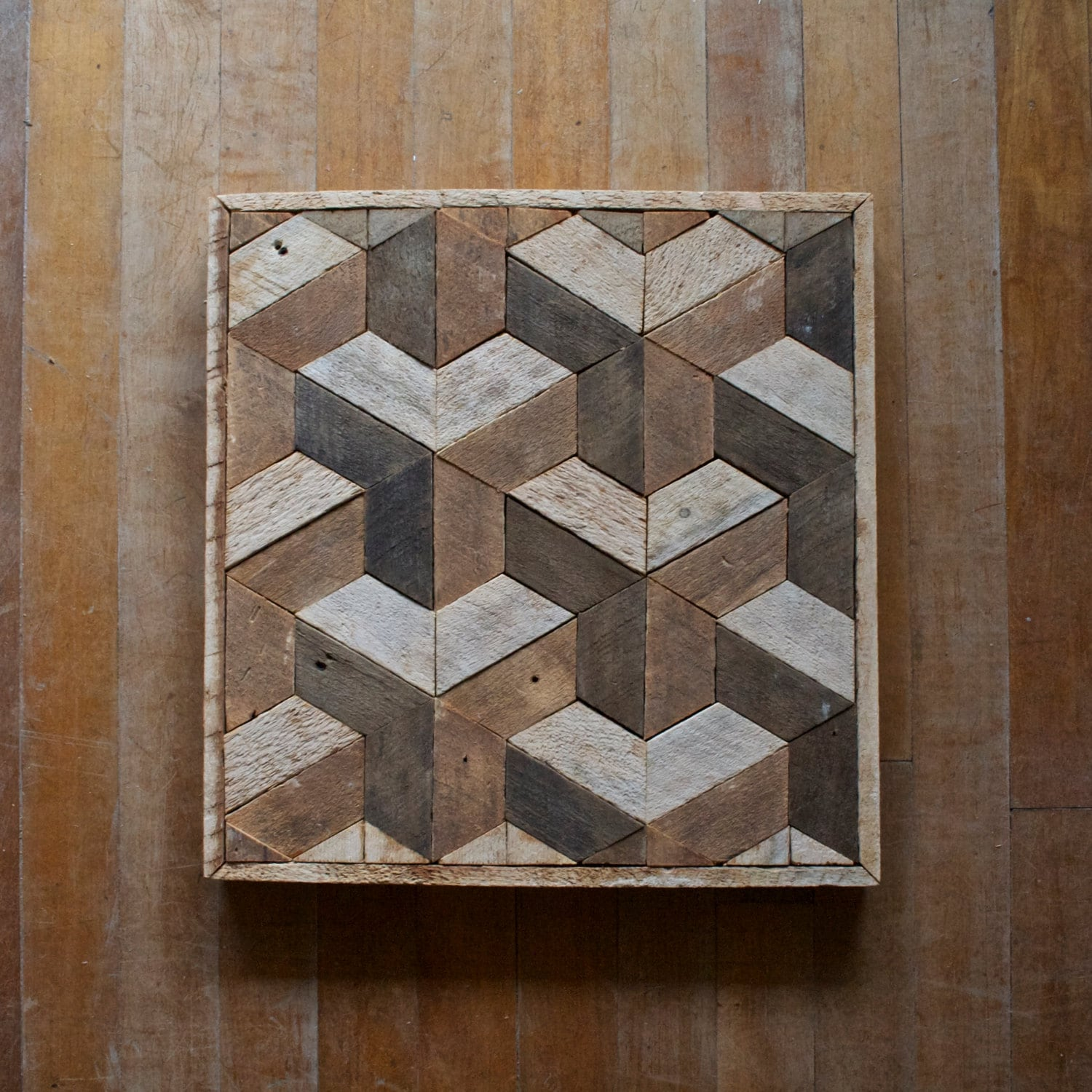 Reclaimed wood wall art decor lath geometric pattern Painting geometric patterns on walls