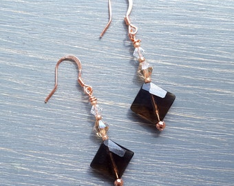 Smoky Quartz Earrings, Smoky Quartz & Swarovski Drop Earrings, Faceted Smoky Quartz Earrings, Swarovski Dangle Earrings, Copper Earrings