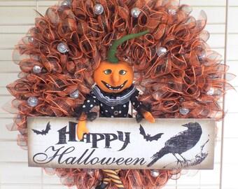 Pumpkin Man Halloween Harvest Door Wreath Decoration W6